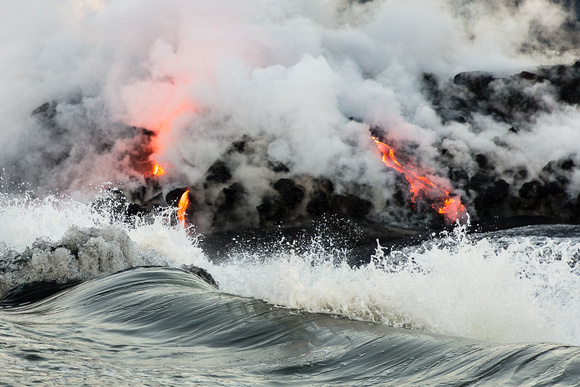 Lava and Crashing Wave, Hawaii