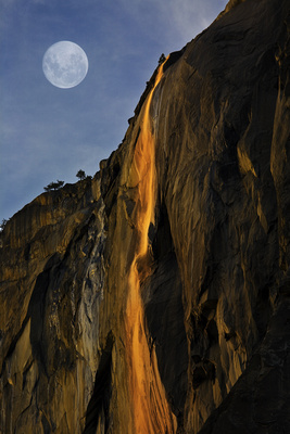 Full Moon Over Horse Tail Falls (Composite)