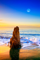 Full Moon Setting Over Malibu Sea Stack